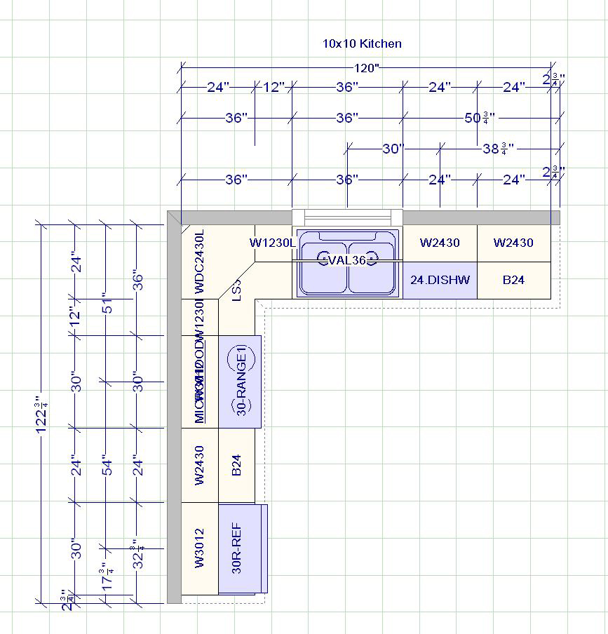 Kitchen cabinets measurement design and layout for 10x10 kitchen layout ideas